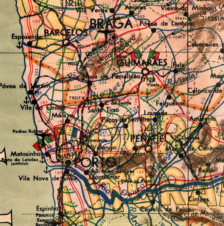 Old Map of Portugal Mapa de Portugal, Portuguese map - product images  of