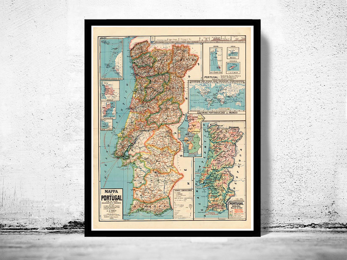 Old Map of Portugal 1929 Mapa de Portugal, Portuguese map - product images  of