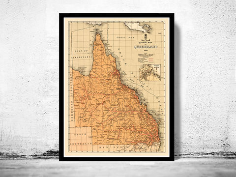 Old,Map,of,Queensland,Australia,1939,queensland map, queensland australia, map of queensland, queensland poster