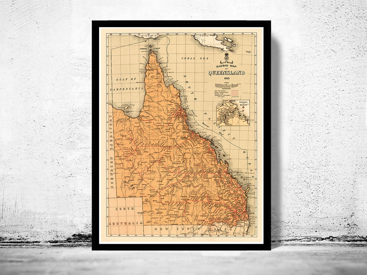 Old Map of Queensland Australia 1939  - product images  of