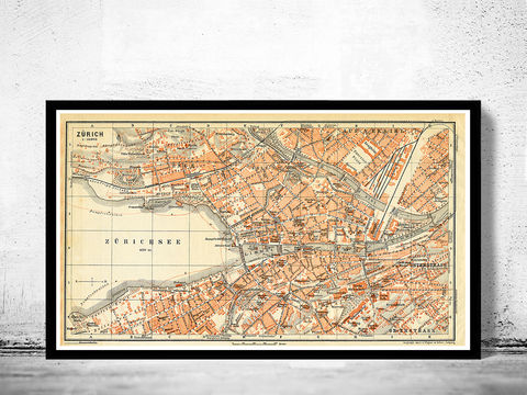 Old,Map,of,Zurich,,Switzerland,1913,zurich map, map of zurich, zurich, switzerland