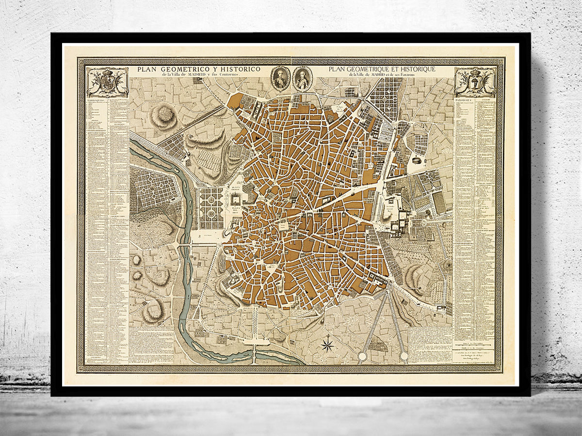 Beautiful Antique Map of Madrid 1761 Spain Espana - product images  of