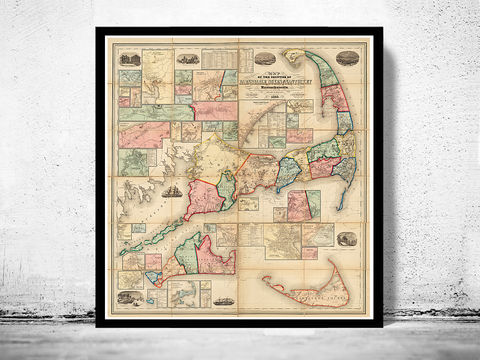 Marvellous,Vintage,Cape,Cod,Map,Massachusetts,1860,map of cape cod, cape cod map, vintage cape cod, cape cod poster, old maps for sale, maps reproductions