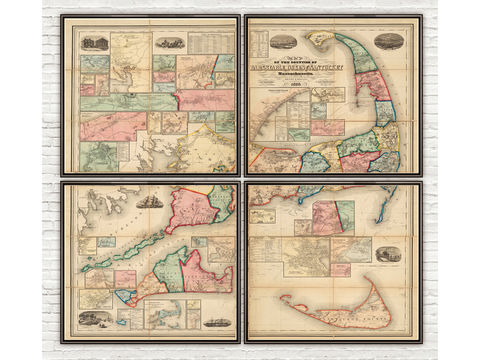 Vintage,Cape,Cod,Map,Massachusetts,1860,(Four,Pieces),map of cape cod, cape cod map, vintage cape cod, cape cod poster, old maps for sale, maps reproductions