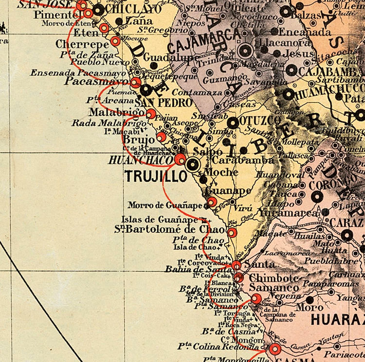 Old map of Peru 1871 - product image