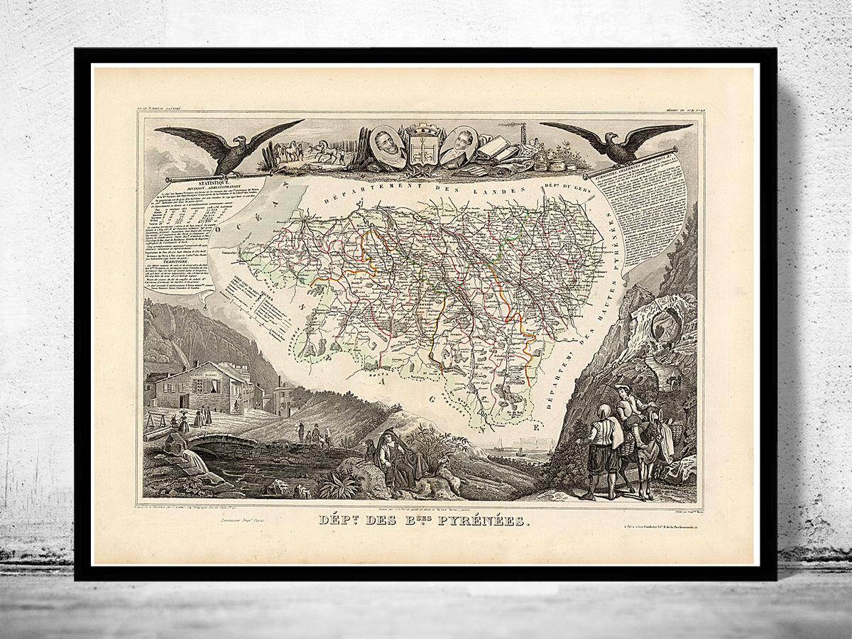 Old Map of Pyrenees Pirineus 1845  - product images  of