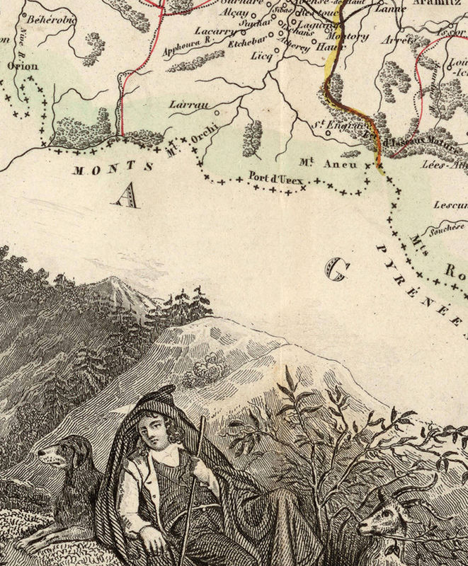 Old Map of Pyrenees Pirineus 1845  - product image