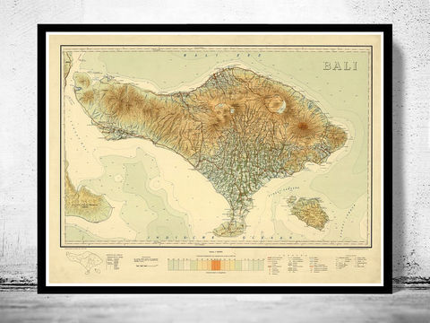 Old,Map,of,Bali,Indonesia,1935,Vintage,bali map, maps for sale, antique maps, maps reproductions, bali, bali island, bali indonesia, bali poster, map of bali, old map of bali