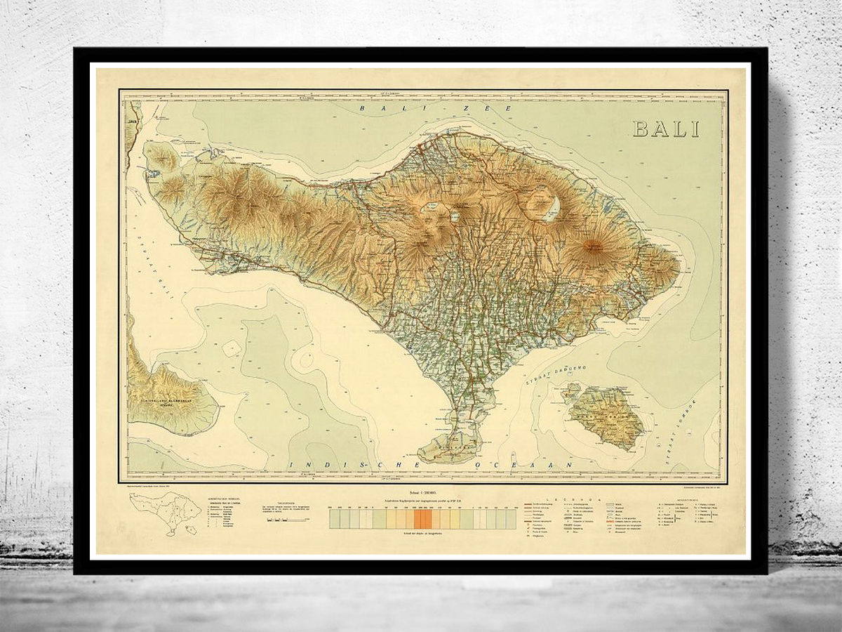 Old Map of Bali Indonesia 1935 - product images  of