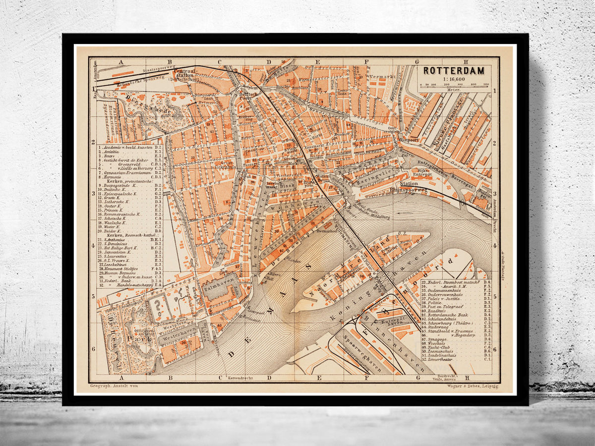 Old Map of Rotterdam Netherlands 1891 - product images  of
