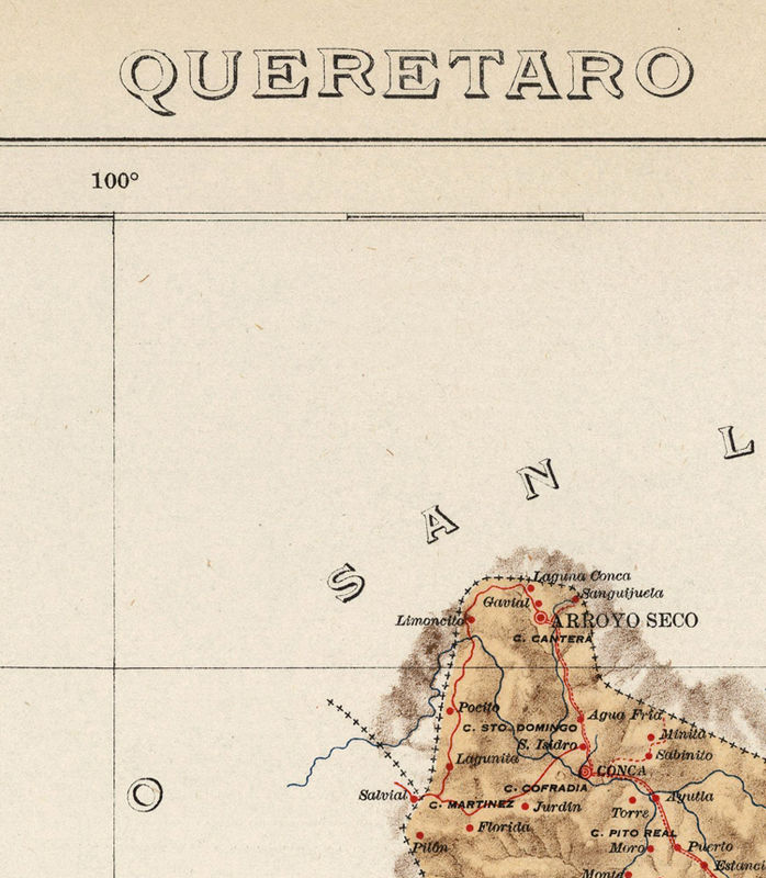 Old map of Queretaro Mexico 1922 - product image