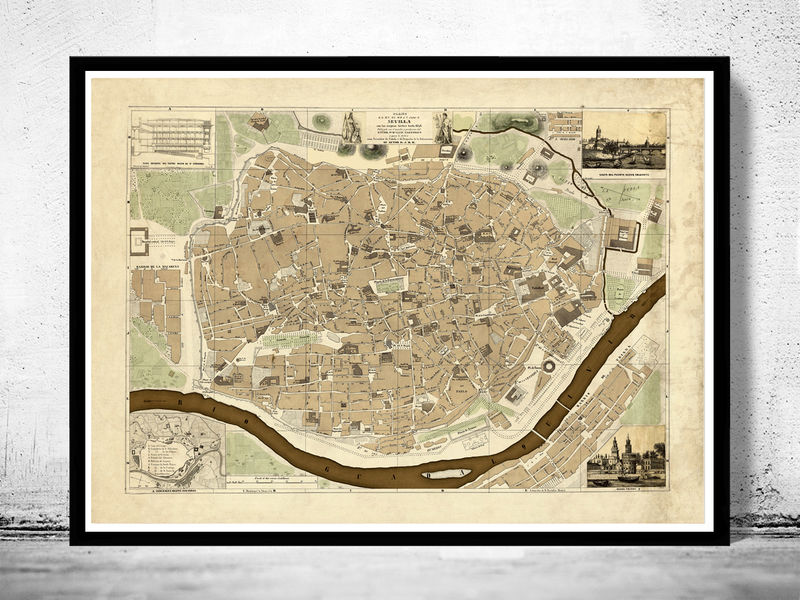 Old Map of Seville Sevilla, Spain 1848 - product image