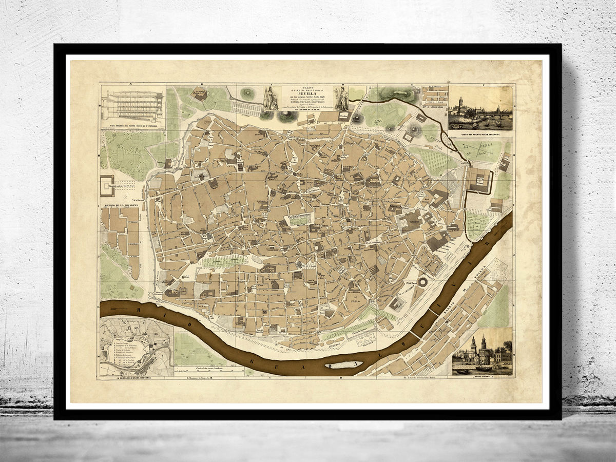 Old Map of Seville Sevilla, Spain 1848 - product images  of