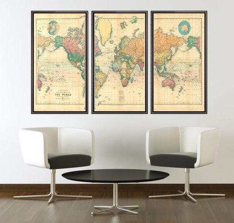 Great Vintage World Map In OLD MAPS AND VINTAGE PRINTS - World map 3