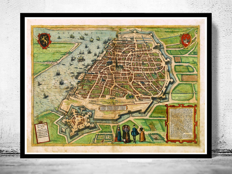Old Map of Antwerpen Belgium 1572 Anvers  - product image
