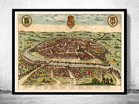 Old,Map,of,Seville,Sevilla,Spain,1590,Vintage,seville, sevilla, map, gravure, old map