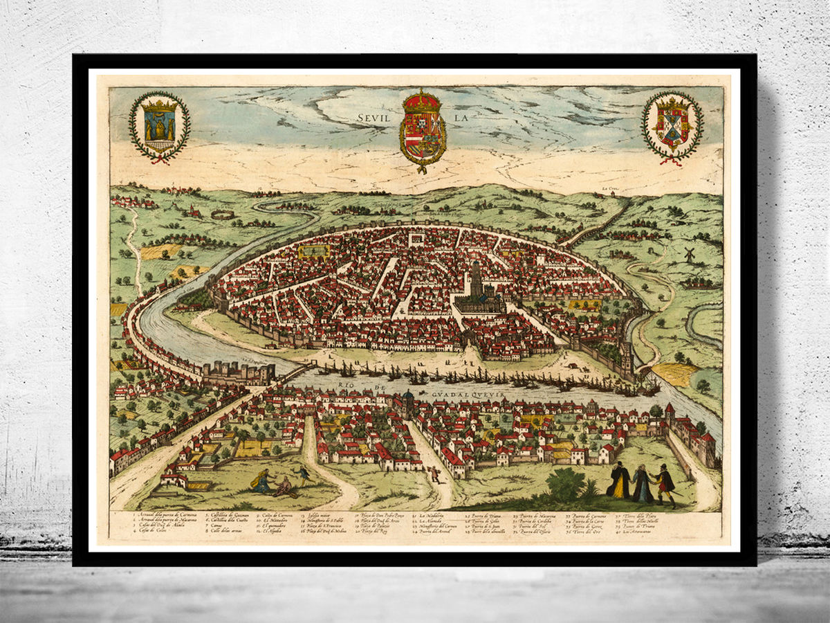 Old Map of Seville Sevilla Spain 1590  - product images  of