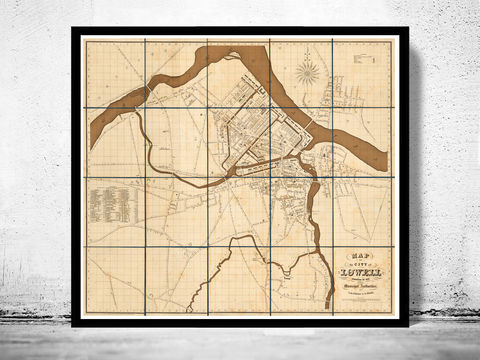 Old,Map,of,Lowell,Massachusetts,1841,Vintage,map,antique lowell  , massachussets , lowell massachussets  , lowell retro  , lowell map × map of lowell  , lowell poster  , old map , maps and prints  , lowell city