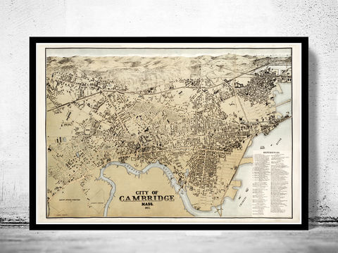 Cambridge,Massachusetts,1877,Panoramic,View,map of cambridge, cambridge, cambridge massachusetts, cambridge poster, map of cambridge, old map, vintage map