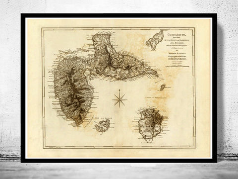 Old,Map,of,Guadeloupe,1775,Vintage,guadeloupe, guadeloupe map, guadeloupe poster, old map, antique map, Leeward Islands, Lesser Antilles
