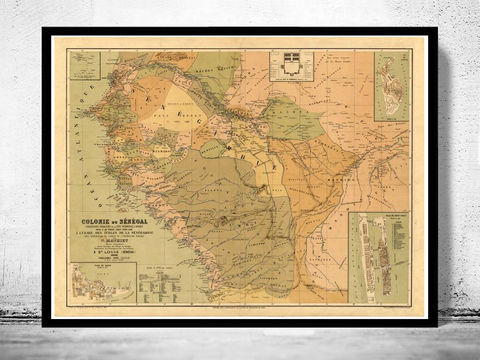 Old,Map,of,Senegal,1884,Vintage,map,senegal, senegal mappe, senegal map, map of senegal, senegal poster, senegal gift, senegal africa