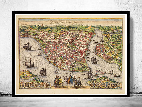 Old,View,of,Istanbul,Constantinople,Panoramic,1850,Art,Reproduction,Open_Edition,city,vintage,plan,medieval,engraving,historic,panoramic,old_map,cosntantinople,instambul,constantinople_map,turkey,art_turkish