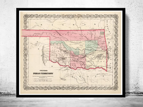 Old,Map,Oklahoma,Indian,Territory,1869,United,States,of,America,Map Oklahoma, Indian Territory