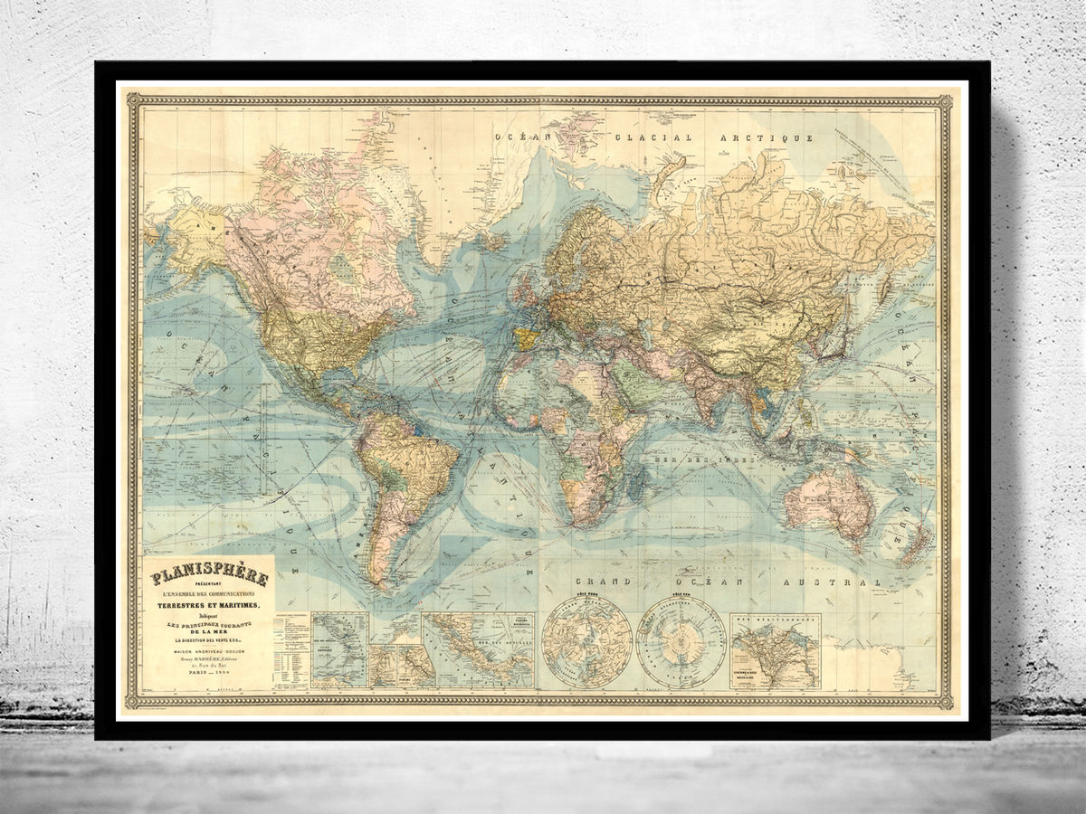 Vintage World Map Atlas 1904 French Edition - product images  of