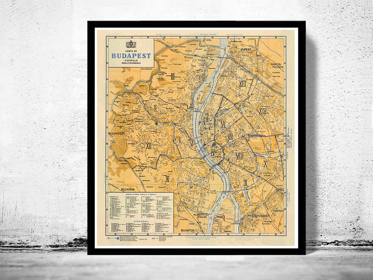 Old Map of Budapest Hungary 1935 - product images  of