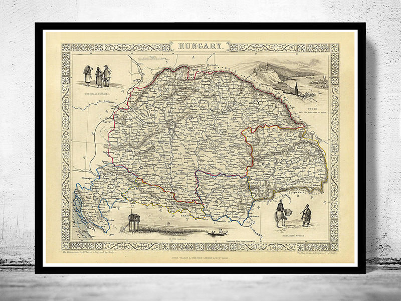 Old Map of Hungary 1851 - product image