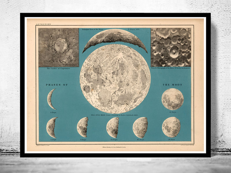 Movements and Phases of the Moon Map 1869 - product image