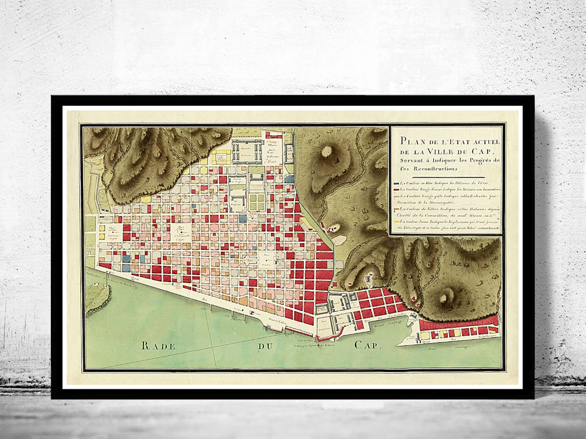 Old Map of Cap-Haitien Le Cap Haiti 1800 - product images  of