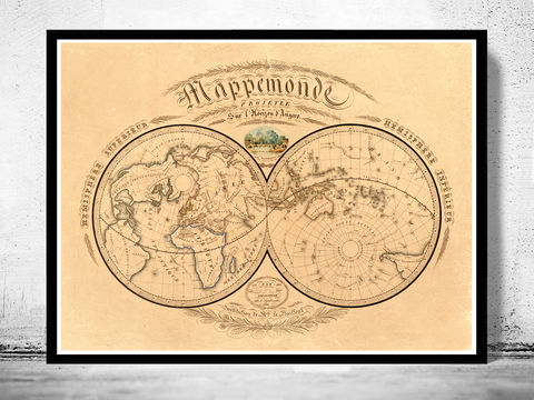 World Map Airlines Vintage Poster OLD MAPS AND VINTAGE PRINTS - Large antique world map poster