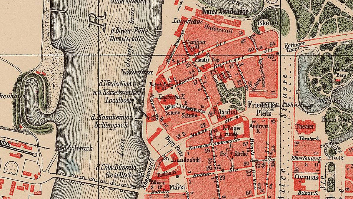 Old Map of Dusseldorf Germany 1877 - product images  of