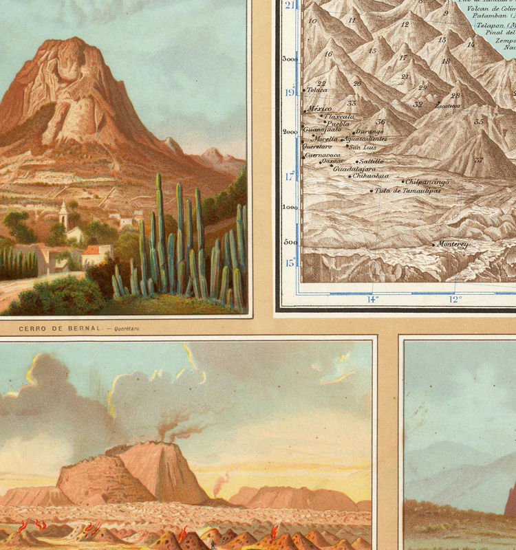 Old Map of Mexico Republic 1885 - product image