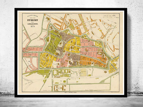 Old,Map,of,Utrecht,Netherlands,1879,utrecht, utrecht map, map of utrecht, old map, utrecht plan, utrech netherlands, utrecht print