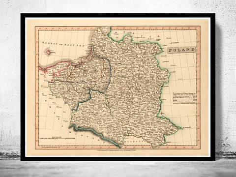 Old,Map,of,Poland,1808,poland, old map of poland, map of poland, poland poster, poland print, polish art, poland antique map