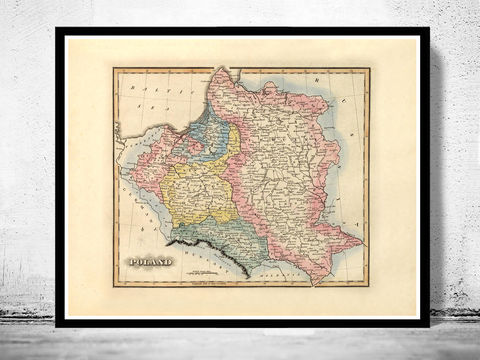 Old,Map,of,Poland,1823,poland, old map of poland, map of poland, poland poster, poland print, polish art, poland antique map