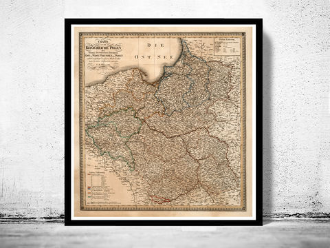 Old,Map,of,Poland,1820,poland, old map of poland, map of poland, poland poster, poland print, polish art, poland antique map
