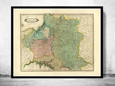Old,Map,of,Poland,1831,poland, old map of poland, map of poland, poland poster, poland print, polish art, poland antique map