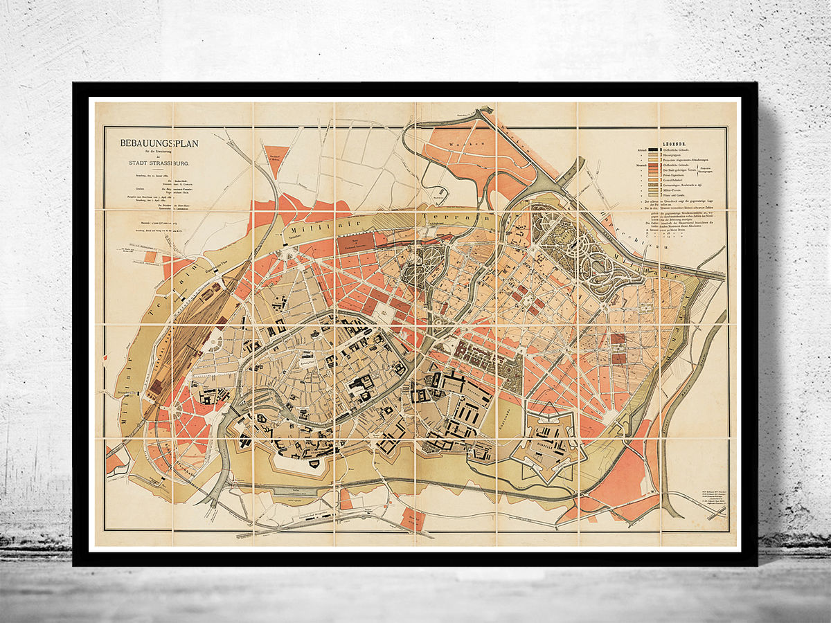Old Map of Strasbourg Strassburg 1880  - product images  of
