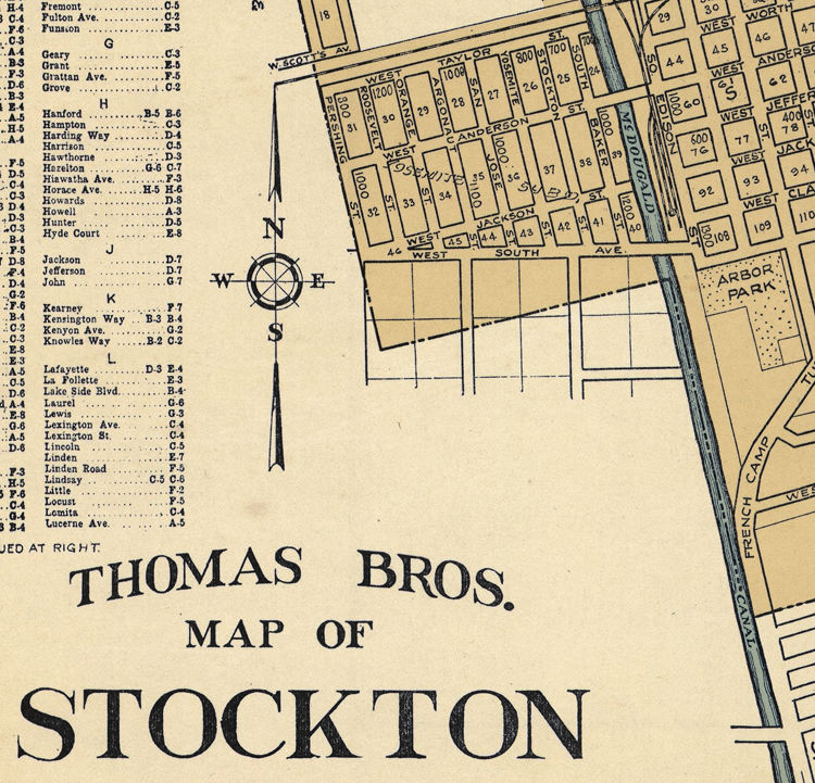 Old Map of Stockton California 1938 - product images  of
