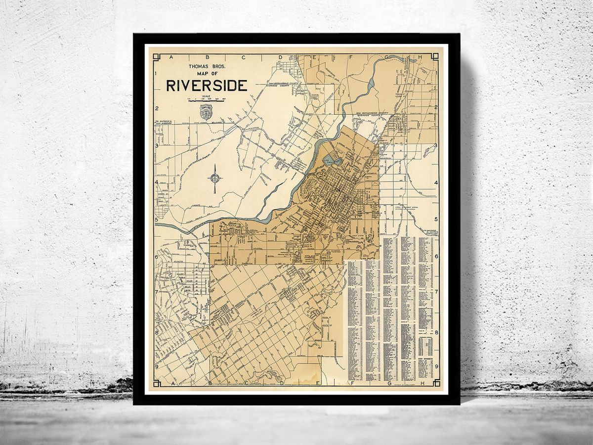 Old Map of Riverside California 1938 - product images  of