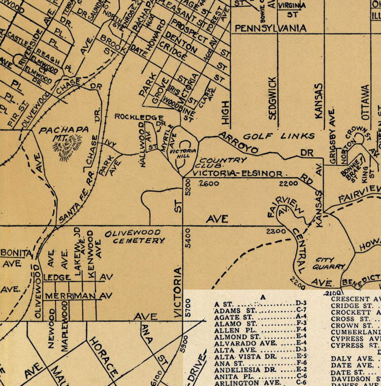 Old Map of Riverside California 1938 - product image
