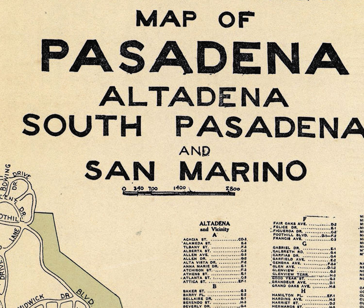 Old Map of Pasadena California 1920 - product images  of
