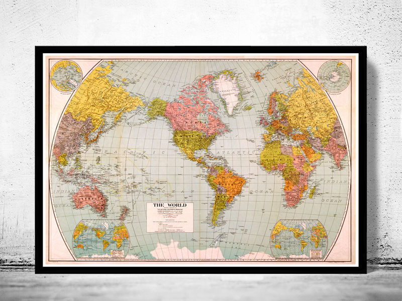 Beautiful World Map Vintage Atlas 1932 Mercator projection - product image