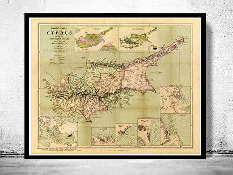 Old,Map,of,Cyprus,1878,Vintage,cyprus, old map of cyprus, chipre, cyprus map, old maps,vintage maps, antique map,cyprus poster, antique print