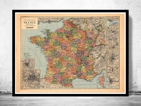 Old,Map,of,France,1919,Antique,map,historical map  , vintage map  , vintage poster , map of france , france  , old map france , france poster , france vintage , france country map , paris vintage  , antique france  , french art  , french