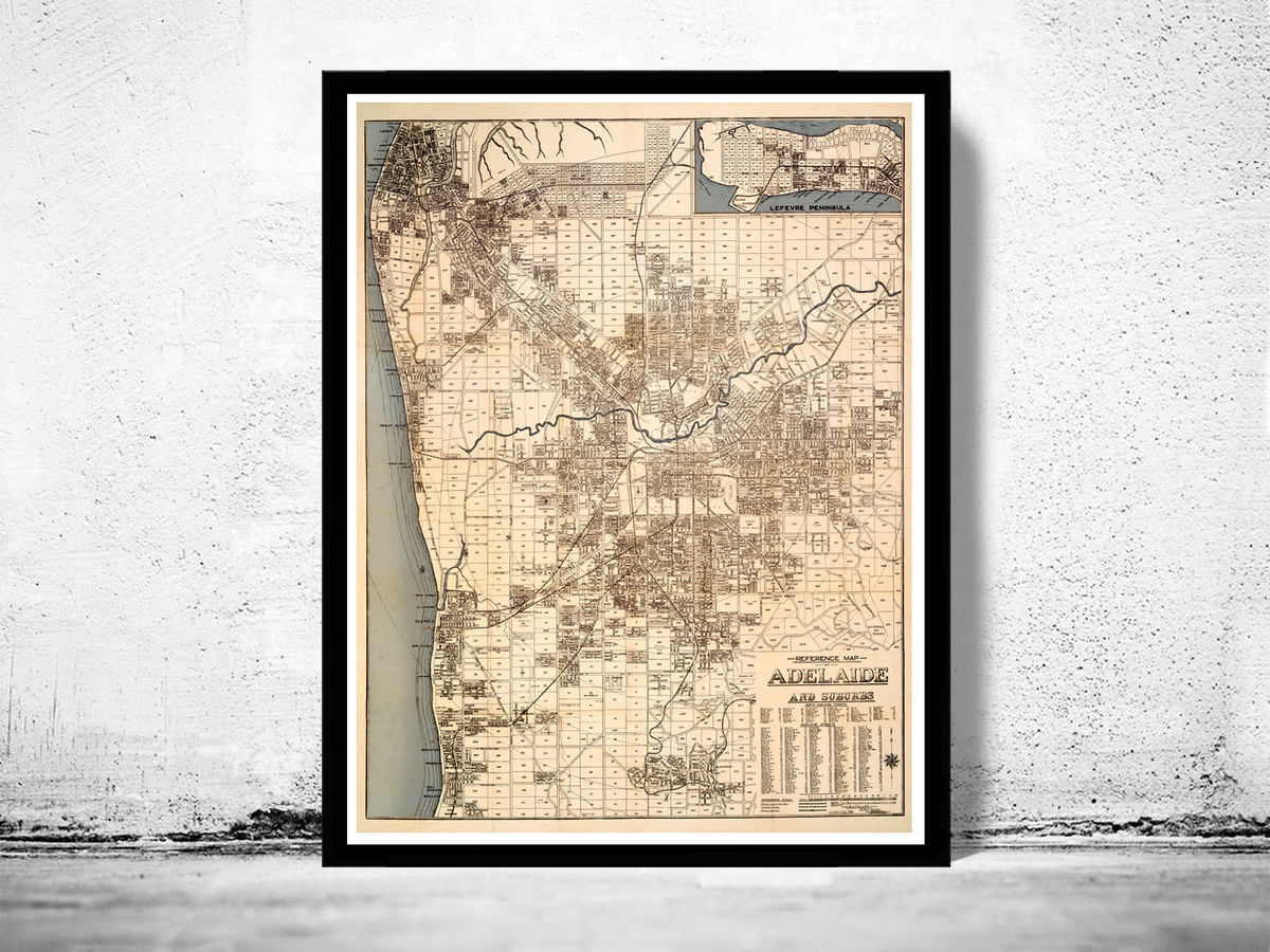 Old map of Adelaide Australia 1920 - product images  of
