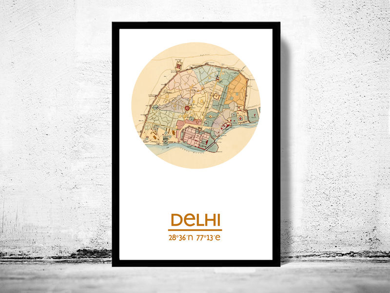 DELHI - city poster - city map poster print - product image
